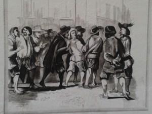 Il murales, riproduzione di un'illustrazione di Gustavo Dorè, raffigurante l'arrivo