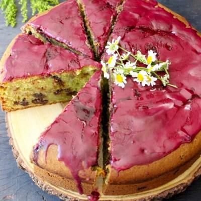 Olive Oil Cake Recipe with Chocolate, Ricotta & Blueberry Glaze