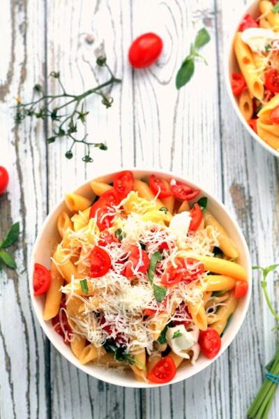 1-warm caprese pasta salad goats cheese-058