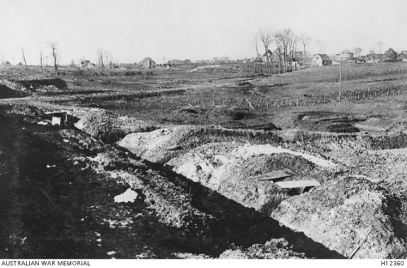 AWM Photo H12360 BULLECOURT, FRANCE, C. 1917. VIEW OF TRENCHES CLOSE TO THE VILLAGE.