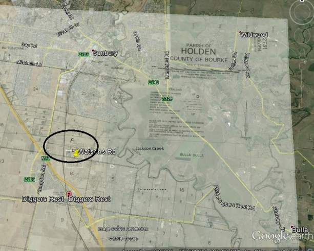 Overlay of Parish of Holden on Google map of Sunbury and diggers Rest highlighting Edward Winter's farm