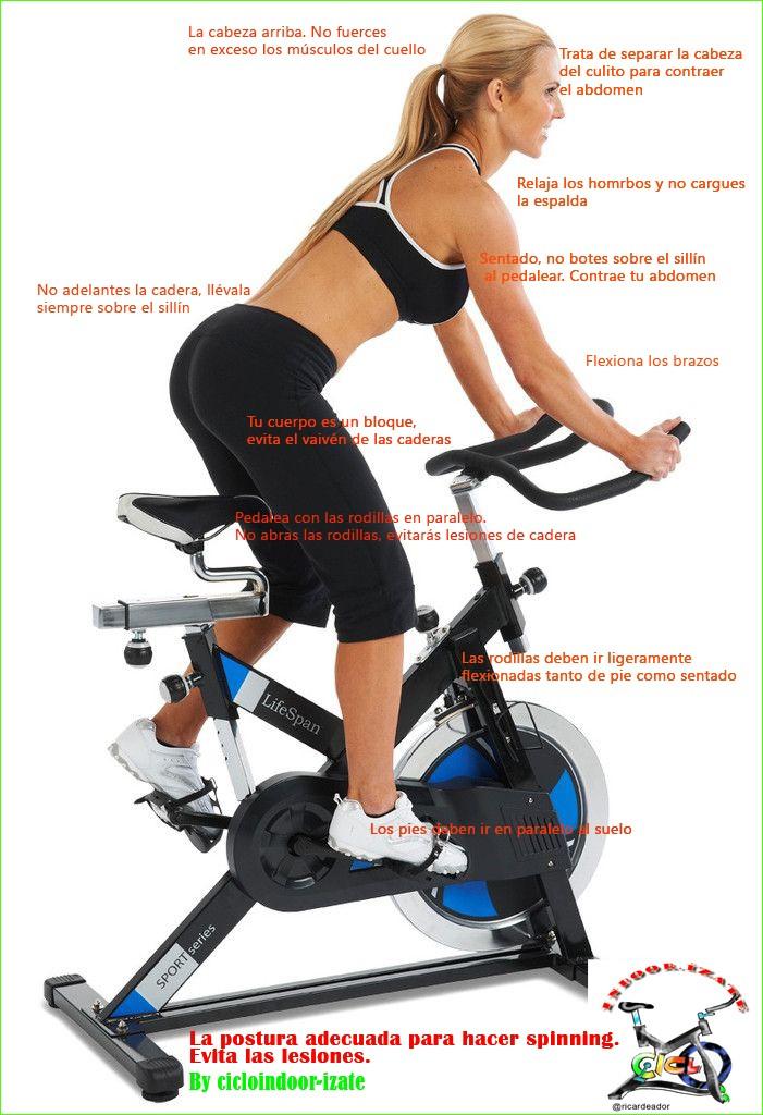postura correcta en la bici de ciclo indoor