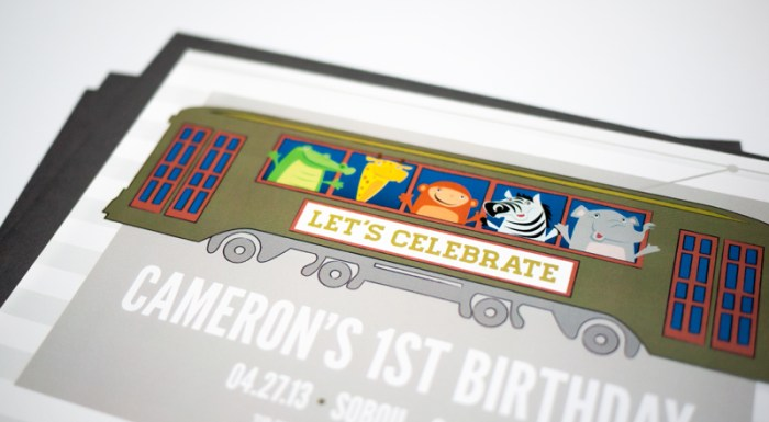 Birthday Party Animal Streetcar Invitation by CieraDesign.com