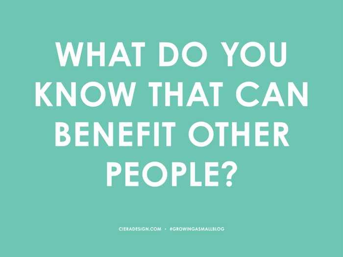 What Do You Know That Can Benefit Others