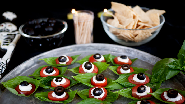 Halloween Table Setup with Caprese Salad