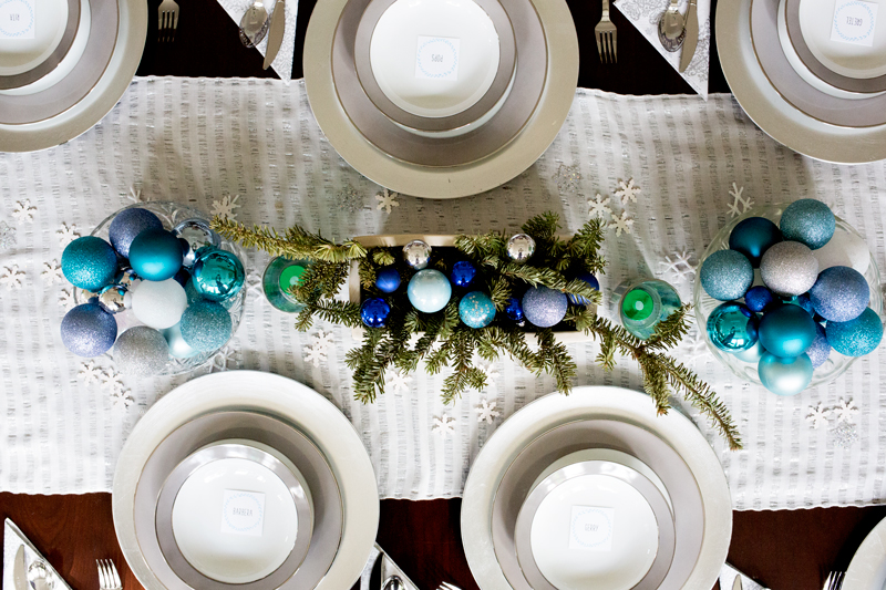 Blue Silver Christmas Table Setting