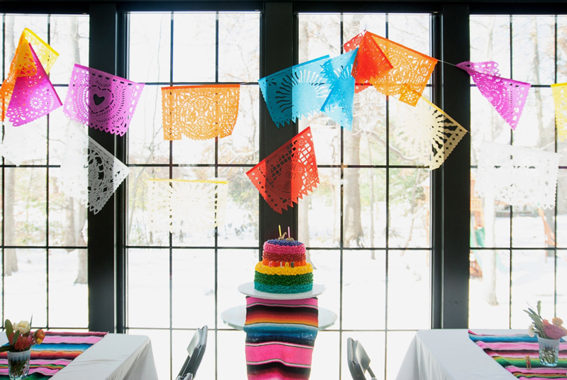 rainbow cake and papel picado garland at fiesta party