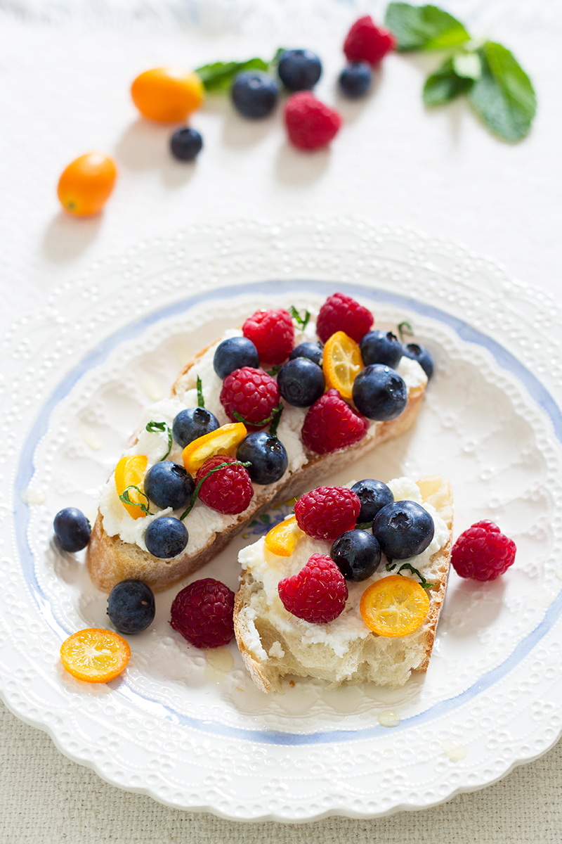 Fresh Berries and Ricotta on Toast