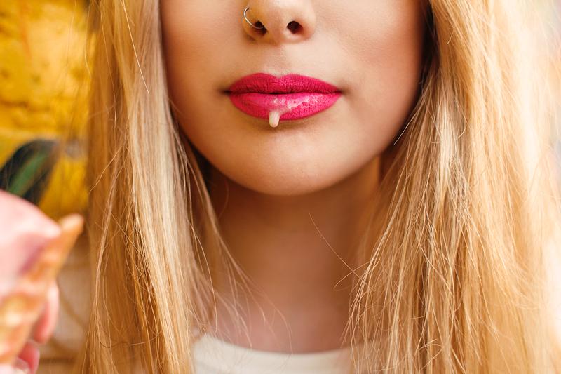 Ice Cream Drips on Pink Lips