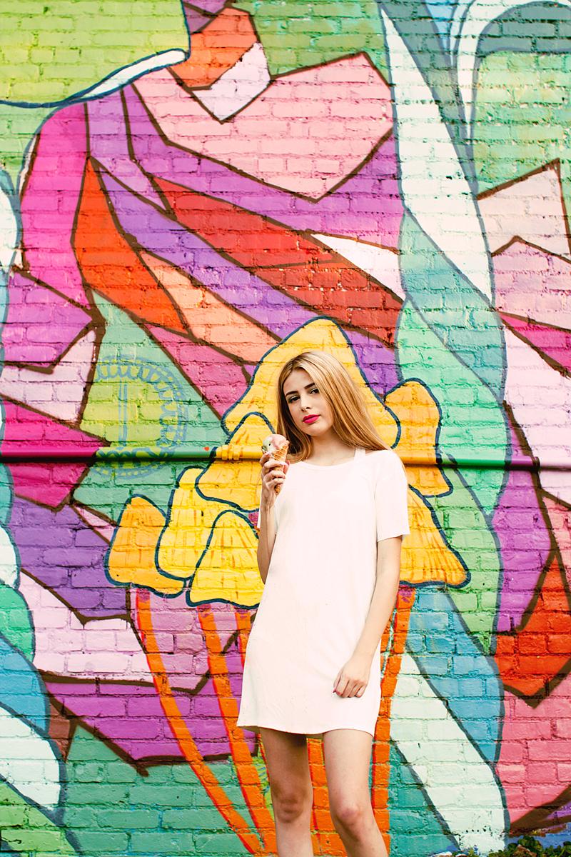 Ice Cream Cone and Bright Mural