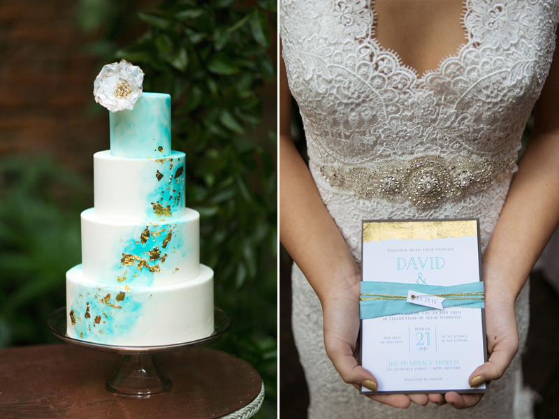 Dip-Dyed-Aqua-Gold-Wedding-Cake-Invite