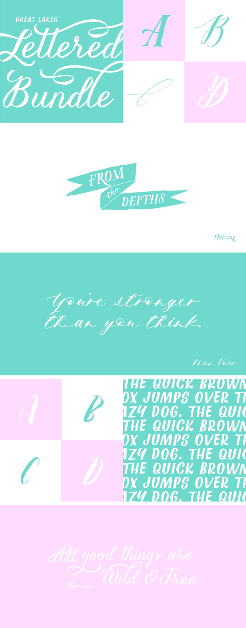 hand-lettered font collection bundle