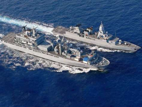 Combat support ship Berlin and frigate Hessen steam side by side in the initital provision of humanitarian assistance on the Southern flank.