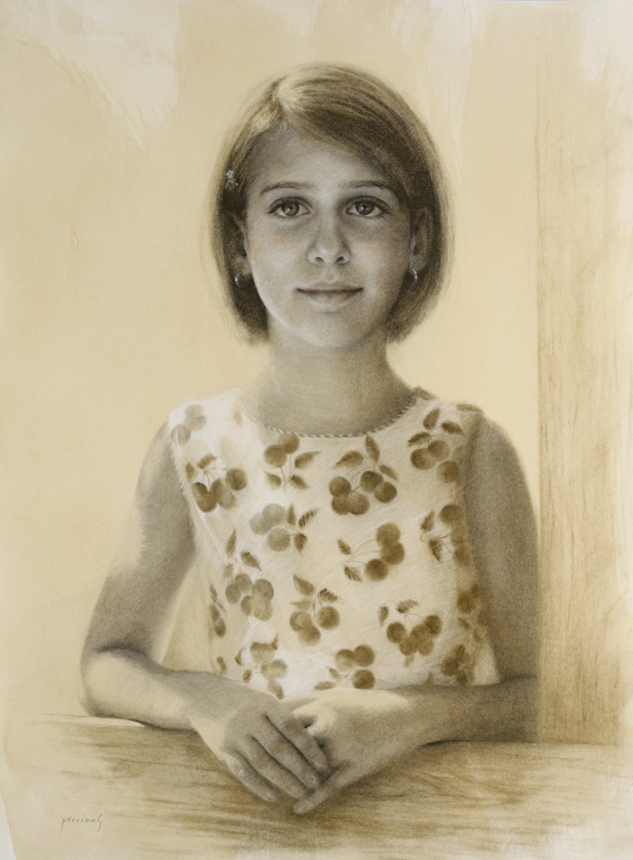 Portrait of Olivia • Charcoal and white chalk on toned paper