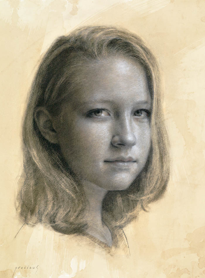 Sarah Procious • Charcoal and white chalk on toned paper