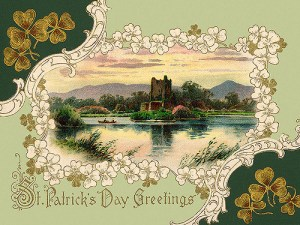 Royce Bair Ross Castle, Killarney, Ireland - an ornate 1913 St Patrick's Day greeting card illustration