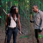 Danai Gurira as Michonne and Lennie James as Morgan - The Walking Dead _ Season 6, Episode 1 - Photo Credit: Gene Page/AMC
