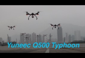 10 Yuneec Q500 Typhoon UAV's flying in Formation