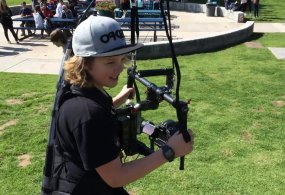 8th grader Dustin Rupp tries out a Ronin Stabilizer & Atlas Camera Support from CHSTV Videos