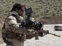 Upside Down RED Camera and 8mm Rectilinear lens Strapped to an Assault Rifle