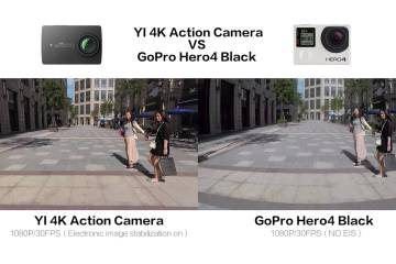YI 4K Camera Side By Side With The GoPro Hero 4 Black Camera
