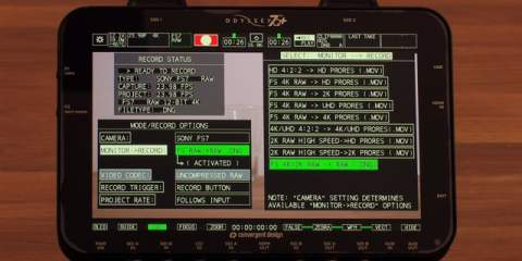 Sony FS7 and Odyssey7Q+ working together to record high frame rates
