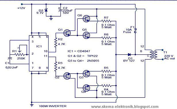 Power Inverter 100W  12V DC to 220V AC  Schematic Design