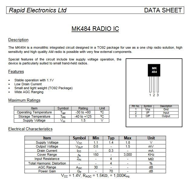 MK484 Datasheet