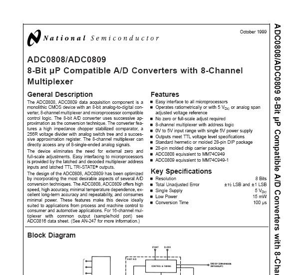 ADC0808/ADC0809 Datasheet Document