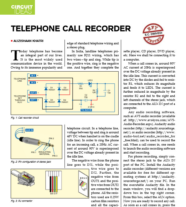 Home Telephone Call Recorder Circuit Project