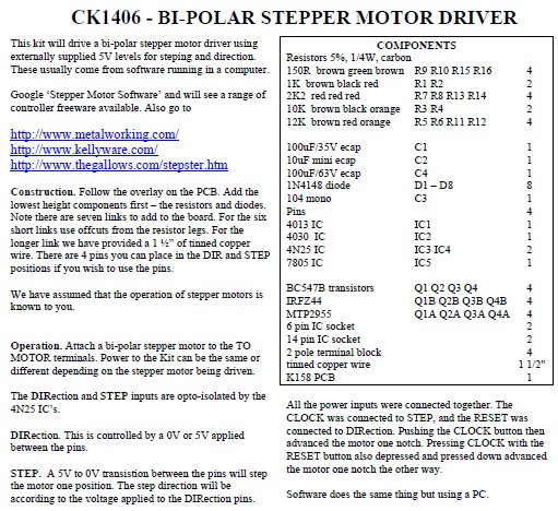 Bipolar Stepper Motor Driver Manual Kit