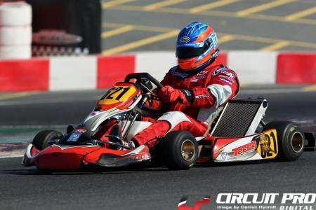 Alex Annivas in action at the Dubai Kartdrome last season