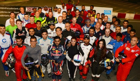 Ramadan Challenge drivers at the end of a hot Dubai nights racing