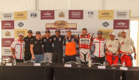 Sealine Cross-Country Rally winners at the post-event press conference.