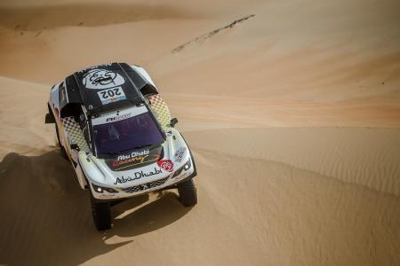 Sheikh Khalid Al-Qassimi in his Peugeot 3008 DKR.