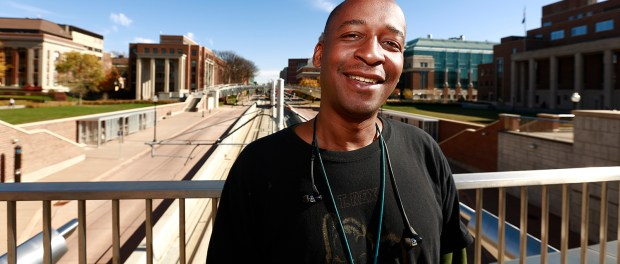 Edward Johnson has been through it all but he's found solace in drawing. (Photo: Chris Juhn/City College News)