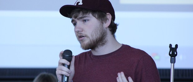 Dylan Kelly fielded questions about the Student Life budget at the April 15 Student Senate meeting. (Photo: Gabe Hewitt/City College News)