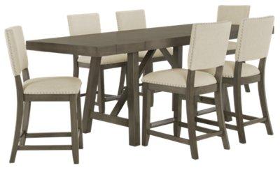 fs omaha gray rectangular table kitchen table omaha Omaha Gray High Table 4 Upholstered Barstools