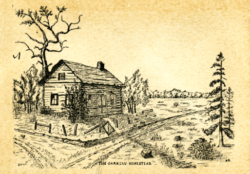 Drawing of the Garneau Homestead. Image courtesy of the University of Alberta Archives 91-65a. Do not reproduce.