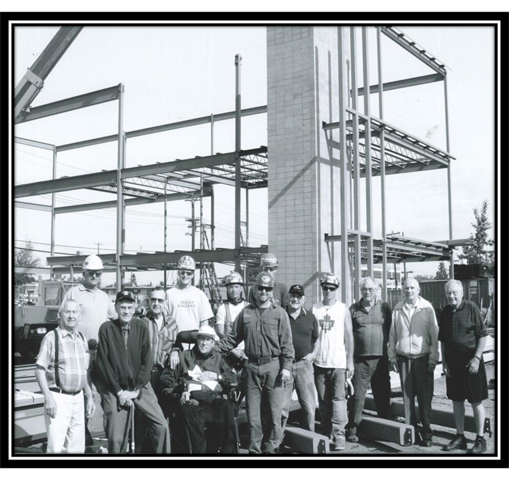 Retired members of the Local 720 Edmonton Iron Worker's Union members on construction site. Image courtesy of the Local 720 Iron Worker's Union, do not reproduce.