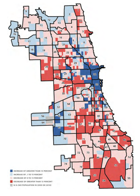 Blue areas saw population growth; red areas saw decline. Credit: City of Chicago.