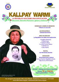 """02. Perú: Mamá Angélica, símbolo de lucha de los familiares de desaparecidos, es homenajeada en """"Kallpay Warmi- la República nos debe una explicación"""""""