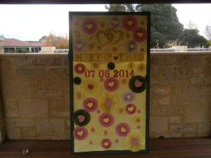Couples own Wedding Board, ceremony in Perth, Western Australia