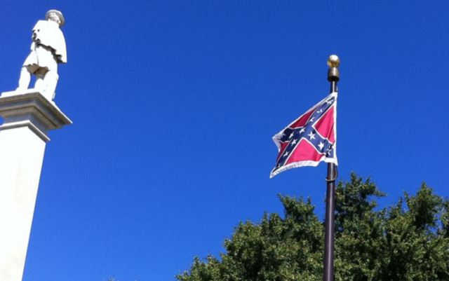 Confederate flag on flagpole detail 02