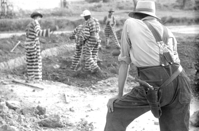 1941 Oglethorpe County, GA Chain gang convicts and guard-Jack Delano 02 B