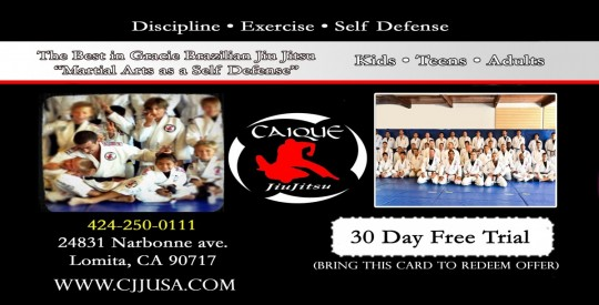 "alt=""Caique Jiu Jitsu free martial arts 30 days trial card"""