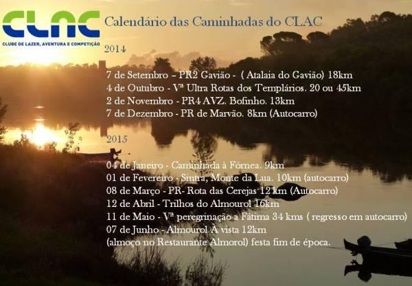 Calendário das Caminhadas 2014/2015