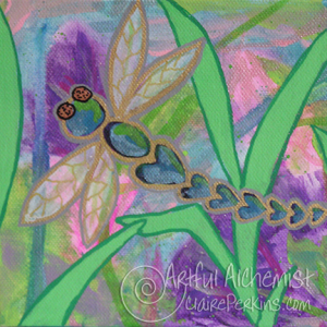 """""""Dragonfly Garden"""" Collection. Panel 1 of 4, acrylic on 6"""" x 6"""" x 1 1/2"""" deep stretched canvas."""