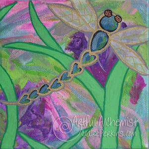 """""""Dragonfly Garden"""" Collection. Panel 4 of 4, acrylic on 6"""" x 6"""" x 1 1/2"""" deep stretched canvas."""