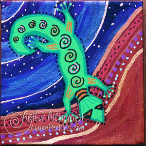 """""""Lizards of Dreamtime"""" Series, Panel 4 of 4, acrylic on 6"""" x 6"""" x 1 1/2"""" deep stretched canvas."""